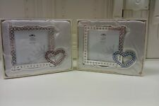 Metal Diamante Photo Frame with Heart Detail Gift Boxed Ribbon Christening Gift