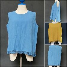 Cotton Vintage  Tunic Tank Top  Summer Maternity Crochet Lace Trim Sleeveless