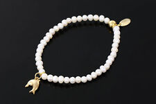 SARULO White Freshwater Pearls 24k Gold Plated 925 Sterling Silver Bracelet Gift
