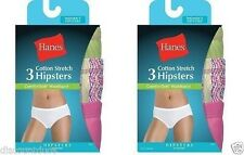 6-Pack Hanes Women's Cotton Stretch Hipster Panties - Assorted Colors - Size 4-9