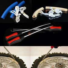 3 Lever Spoon Motorcycle Tire Iron Changing Tool W/ Pair Wheel Rim Protector Set