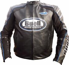 Black Buell Motorcycle Racing leather Jacket with CE Armor
