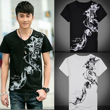 New Mens Tops Casual shirts Slim Fit V-neck T-shirt Short Sleeve Muscle Tee D9