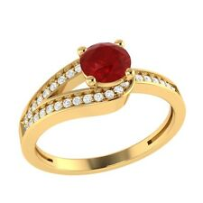 0.70 Certified Ruby & Certified Diamond Solid Gold Wedding Engagement Ring
