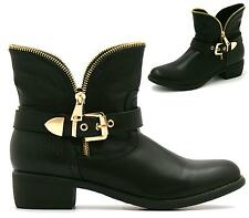 WOMENS LADIES LOW HEEL GOLD ZIP BUCKLE BIKER CHELSEA ANKLE BOOTS SHOES
