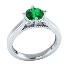 0.60 ct Solitaire Natural Green Emerald Solid Gold Wedding Engagement Ring