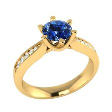 0.95ct Real Blue Sapphire & Certified Diamond Solid Gold Wedding Engagement Ring