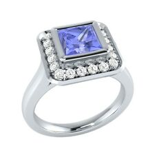 0.65 ct Natural Tanzanite & Certified Diamond Solid Gold Wedding Engagement Ring
