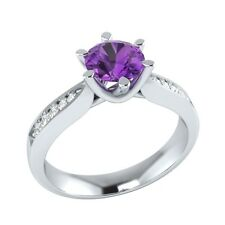 0.95 ct Natural Amethyst & Certified Diamond Solid Gold Wedding Engagement Ring