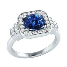 1.05 ct Natural Sapphire & Certified Diamond Solid Gold wedding Engagement Ring
