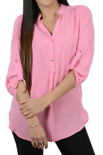 Ex Chainstore Half Buttoned Mandarin Collar Quarter Sleeve Crepe Top in Pink