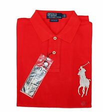 """""""NWT- POLO Ralph Lauren RED & SILVER Big Pony Custom Fit Men's S/S Polo Shirt"""