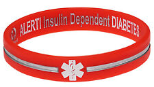 Diabetes Insulin Dependent Orange Silicone Wristband Medical Alert ID Bracelet