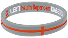Silver Diabetes Insulin Dependent Silicone Wristband Medical Alert ID Bracelet