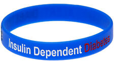 Insulin Dependent Diabetes Blue Silicone Wristband Medical Alert ID Bracelet