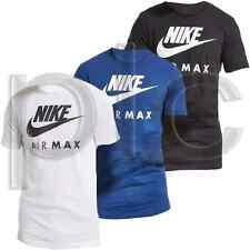 New NIKE AIR MAX Mens Crew Neck Cotton T-Shirt Tee S-XL Black White Blue
