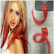 "Full Hair 18 inch Red Hair Colored Clip in Extensions 100% Human Hair 1.6""widex5"