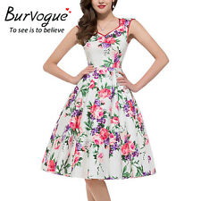 Women Fashion Summer Pleated Printed Sleeveless Floral Cocktail Party Dress