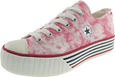 Maxstar Women's Mottled Pattern Low-top Stripe Platform Canvas Sneakers Shoes