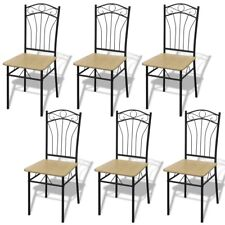 New Set of 6 / 4 / 2 Light Brown Steel Frame Dining Chairs Room Furniture Modern