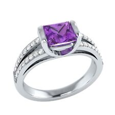 0.90 ct Natural Amethyst & Certified Diamond Solid Gold Wedding Engagement Ring