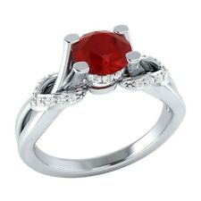 0.75 ct Natural Ruby & Certified Diamond Solid Gold Wedding Engagement Ring