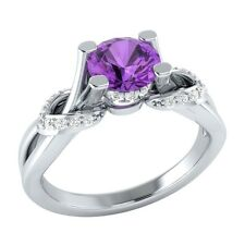 0.75 ct Natural Amethyst & Certified Diamond Solid Gold Wedding Engagement Ring