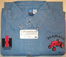 Mens Farmall Cub & IH Logo Embroidered Denim Shirt with Pocket