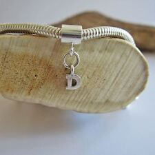 Initial 'D' Sterling Silver European-Style Charm and Bracelet- Free Shipping