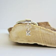 Initial 'K' Sterling Silver European-Style Charm and Bracelet- Free Shipping