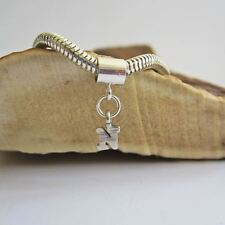 Initial 'N' Sterling Silver European-Style Charm and Bracelet- Free Shipping