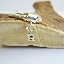 Initial 'R' Sterling Silver European-Style Charm and Bracelet- Free Shipping