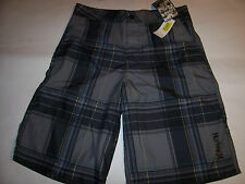 NEW Hurley black plaid board boardshorts boys sz 18 swim trunks shorts hybrid