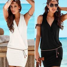 Summer  Women Solid Sleeveless Evening Cocktail Party Above Knee Mini Dress