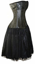 Strong Full Steel Boned Corset Silver/Grey Black + Skirt Bridesmaid Bride Fancy