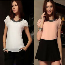 Fashion T-Shirt Plus Size Tops Chiffon Women Short Sleeve Blouses Summer Casual
