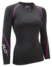 SUB RX Womens Compression Top, L/S Baselayer - skin tight fit sports gym shirt
