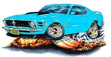 1970 Ford Mustang Boss 429 Muscle Car-toon Art Tshirt NEW