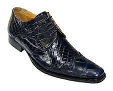 Mauri ITALY Alligator Skin Dark Blue Wing Tip Oxfords Formal Lace Up Dress Shoes