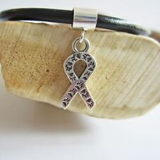 Animal Awareness Sterling Silver Ribbon European-Style Charm & Bracelet-FreeShip