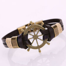 Women Men Fashion Leather Surfer Tribal Wrap Cuff Bangle Wristband Punk Bracelet