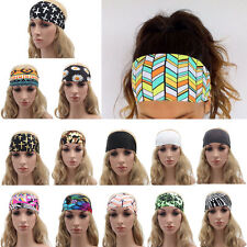 Women Girls Colored Wide Yoga Headband Stretch Hairband Elastic Hair Band Turban