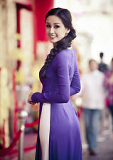 Purple Vietnam AO DAI CUSTOM MADE, Chiffon Dress & White Satin Pant, Best Price
