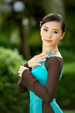 Light Blue & Brown, Vietnam AO DAI CUSTOM MADE, Chiffon Dress & Satin Pant
