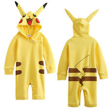 Baby Girls Pikachu Costume Cute Romper Infant Cute Outfit Hood Playsuits 0-18M