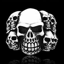 Skull Mens Ring 316L Stainless steel Gothic Biker Brushed Heavy Harley Punk Band