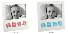 """Baby Boy (Blue) or Girl (Pink) 6"""" x 4"""" Photo Frame Christening New Born Gift"""