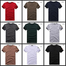 sell Summer Fashion Men's V-Neck Short Sleeve T-Shirt Slim Fit Casual Tee Shirt