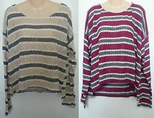 Womens AEROPOSTALE Long Sleeve Striped Open-Knit Top NWT #3298