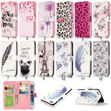 Paint Pattern Magnetic Flip Leather Wallet Card Slot Stand Case Cover For Phone